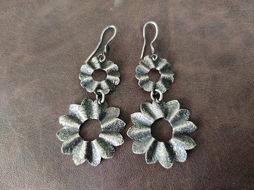 Sun flower Shape Dangle & Drop Silver Earring