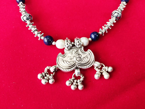 Silver Beads, Lapis Lazuli and fresh water pearl Necklace - Hand Intertwited