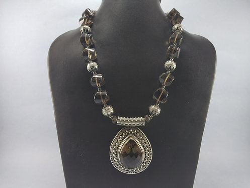 Vintage Silver Smokey Topaz Necklace - Silver Designs From 1970's
