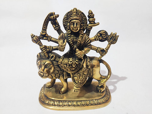 Goddess Durga Seating On Standing Lion Bronze Statue