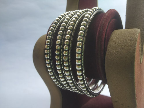 Indian Bangle Bracelets - Set of Four Silver Bangles