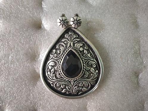 Black Onyx Silver Repousse Pendant