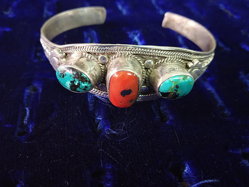 Nepali Coral And Turquoise Stone Bracelet