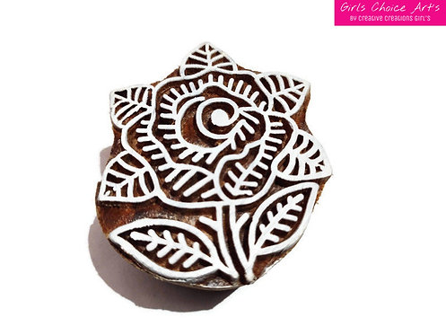 Beautiful Handmade Gift - Floral Shape Stamps - Rose Shape Wooden Block
