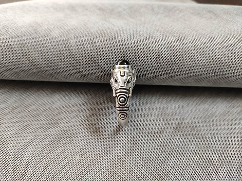 Lord Shree Ganeshas Head Silver Ring - Black Onyx on Lord Head