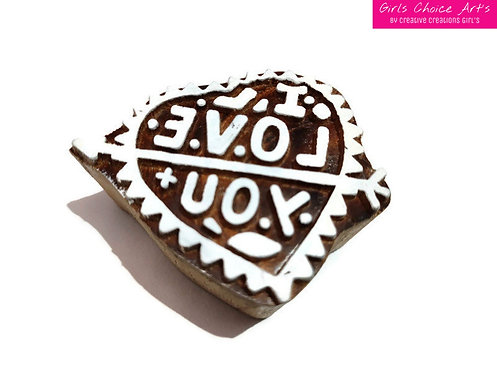 Hand Crafted I Love You Wood Block - Love Wooden Block - Love Wooden Stamps