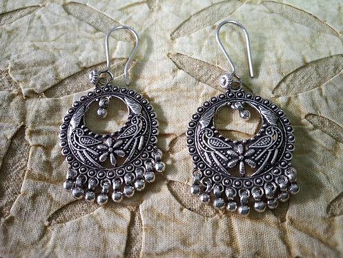 Tribal Crescent Chandelier Earrings