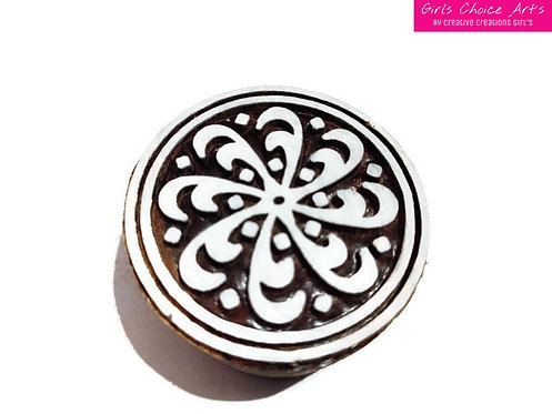 Flower in a circle, indian star, tile square, Abstract Wood Blocks