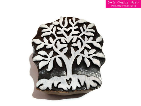 Beautiful Handmade Gift - Tree Shape Wooden Block - Henna Stamps - Henna Blocks