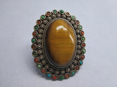Vintage Tiger-eye, Coral and Turquoise Stone Ring