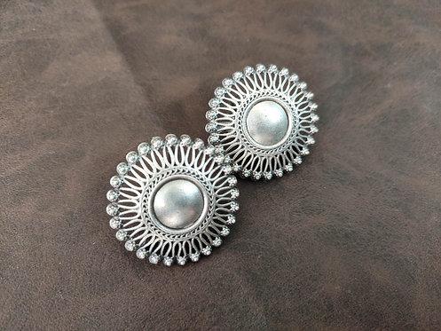 Traditional Flower Shape Stud 925 Sterling Silver Earrings