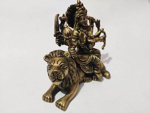 Goddess Durga Seating on Lion Bronze Statue