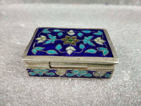 Antique Enamel Silver Pill Box