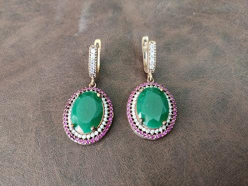 Green Onyx, zircon and ruby latch back earring