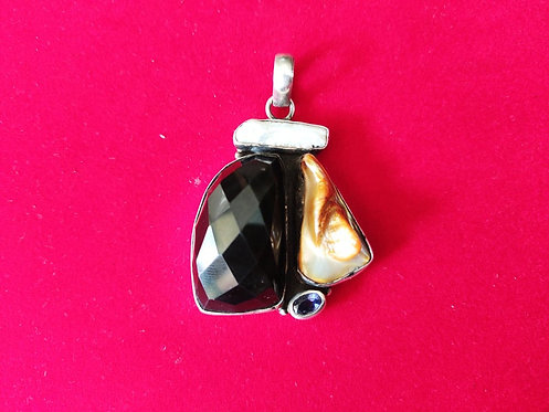 Black Onyx, Amethyst and Mother Of Pearl Gemstones Pendant