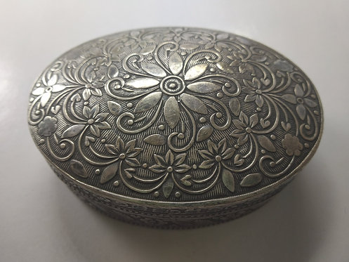 Vintage Oval Repousse Silver Box