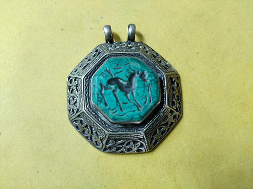 1940s Vintage and Handmade Turquoise Gems Afgani pendant