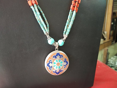 Turquoise And Coral Beaded Necklace