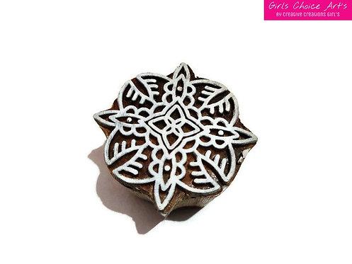 Handmade Unique Wooden Block - Leaf and Flower Shape Henna Stamps