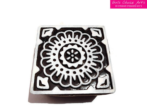 Handmade Square Shape Floral Wooden Art Blocks - Stamps for Personalize Gift