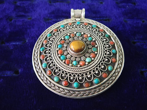 Tiger Eye, Coral and Turquoise Pendant
