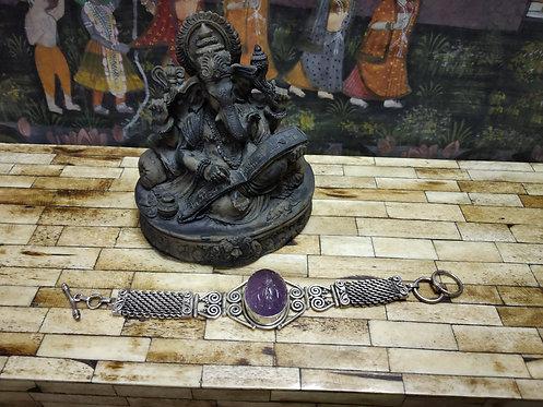 Amethyst Stud Silver Bracelet