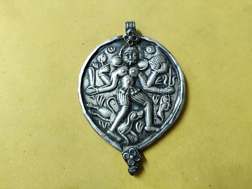 1930 Vintage and Handmade Goddess Bhairavi Repousse 925 Sterling Silver Pendant
