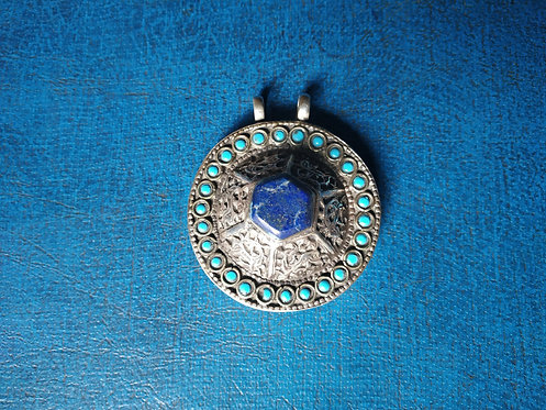Afghani Lapis Lazuli and Turquoise Silver Pendant