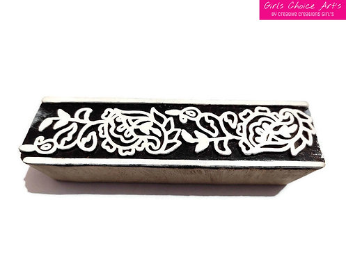 Hand Crafted Wood Art Stamps - Wooden Printing Blocks Border