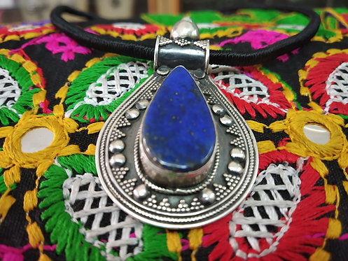 Ethnic Lapis Silver Pendant