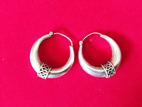 Silver Snack Design Hoops Earrings