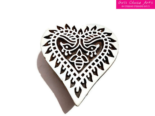 Handmade Gift - Peacock Heart Shape Stamps - Wooden Stamps - Wood Blocks