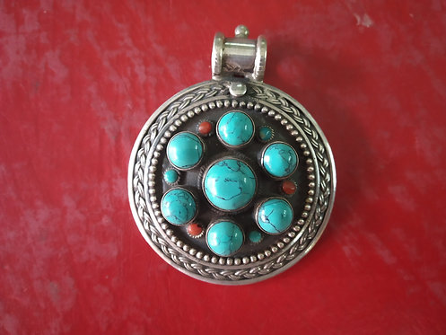 Nepali Turquoise Stone Silver Pendant