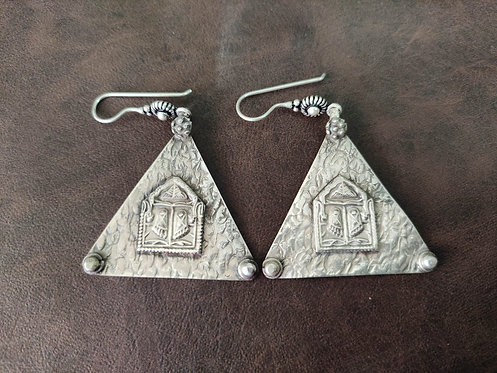 Lord Shree Rama footprint Silver earring