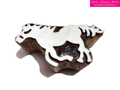 Hand Crafted Wooden Block - Horse Shape Designs Block