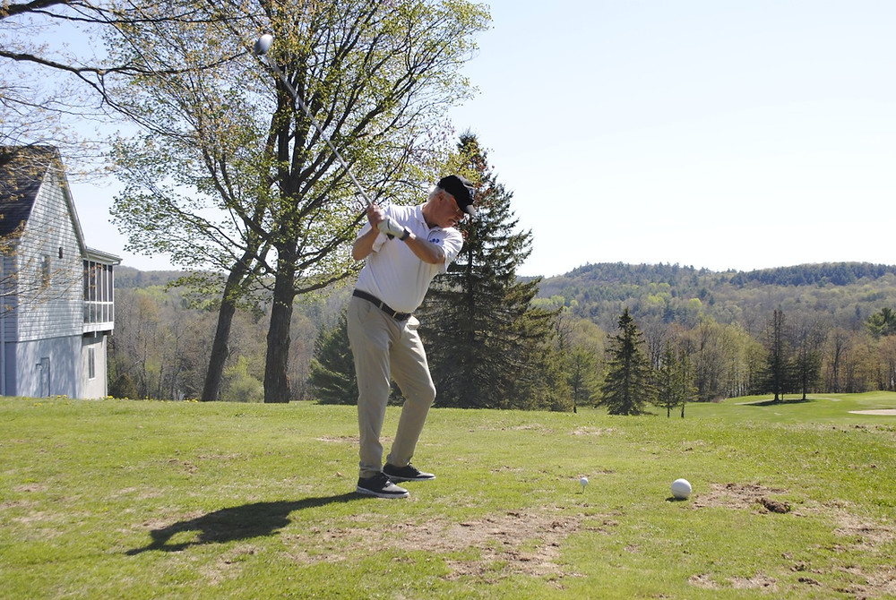Larrimac Golf Club member Jim Wright winds up for his first drive of the season from the first tee on May 20. Hunter Cresswell photo