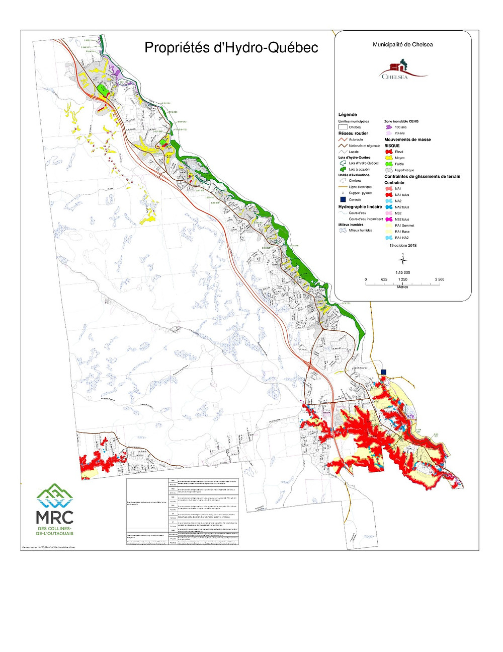 The Chelsea council unanimously voted to purchase 1.89 million square metres of Gatineau River waterfront property, highlighted in green on this map, from Hydro-Québec for $47,426 in January 2020. Image courtesy of the municipality of Chelsea