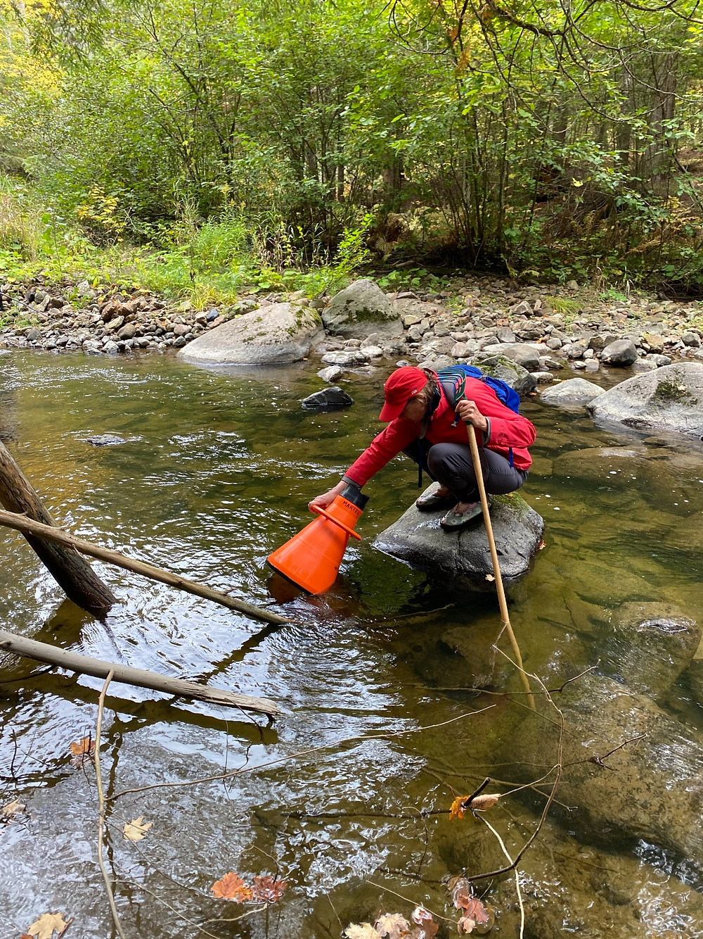 An Action Chelsea for the Respect of the Environment volunteer using a hydroscope to survey for freshwater mussels in Chelsea Creek on Sept. 26, in partnership with Canadian Museum of Nature zoology research scientist André Martel. Photo courtesy Stephen Woodley