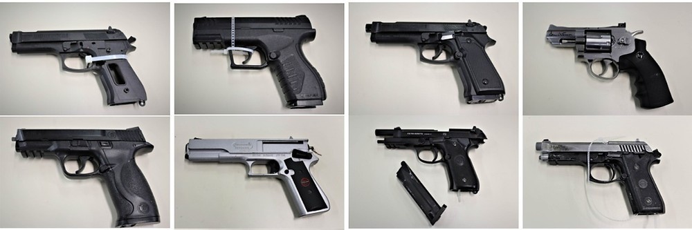 Different styles of airsoft, BB, and pellet pistols that the city of Gatineau Police included in a press release about an incident involving an air gun in early November. Sometimes what people consider toys look like real weapons. An image of the replica Beretta airsoft pistol that MRC des Collines Police reportedly confiscated at the Centre Wakefield-La Pêche on Nov. 7 has not been released. Images courtesy Gatineau Police