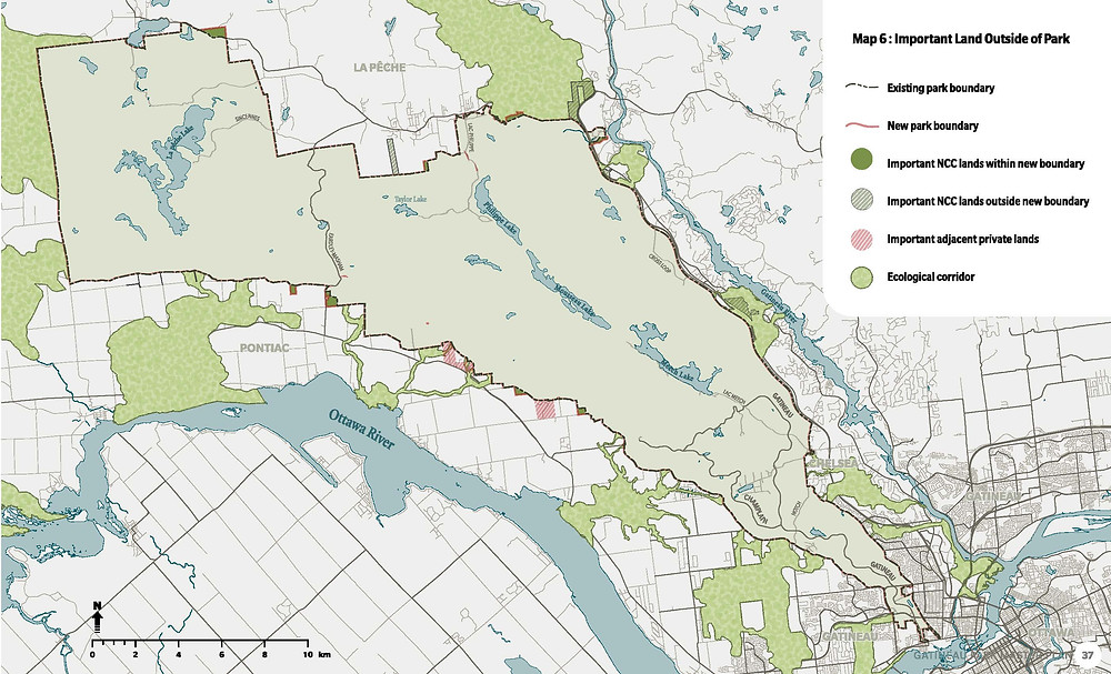 This map included in the draft Gatineau Park 2020 master plan displays neighbouring ecological corridors outside of park lands that are important for local wildlife biodiversity both in and outside of the park. Image courtesy National Capital Commission