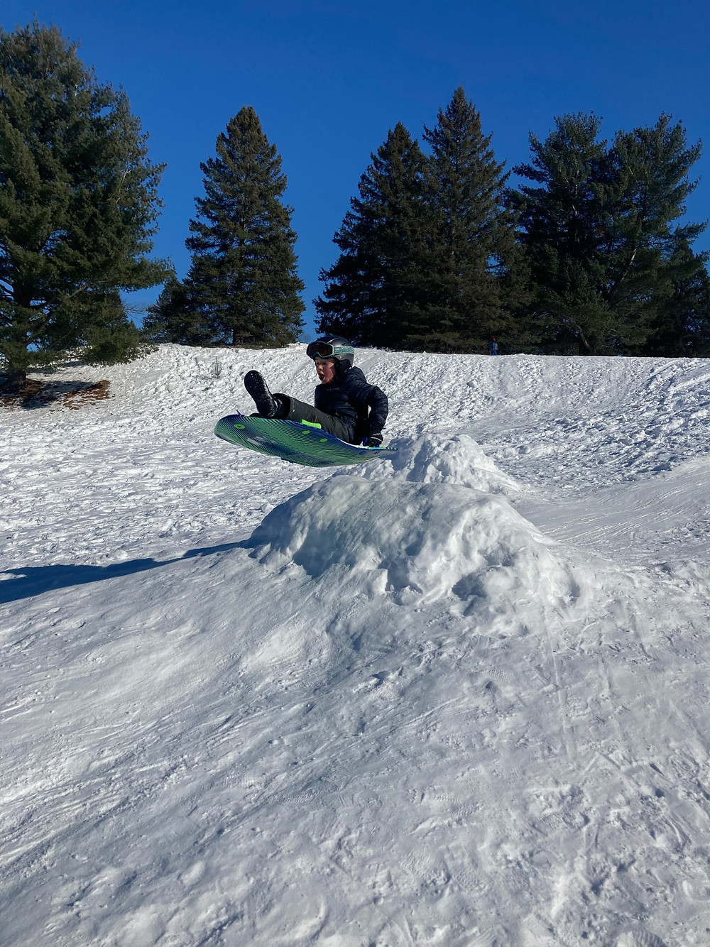 Dominic Valerio of Wakefield caught air at Larrimac Golf Club's sledding hill. With the residential development and year-round recreation activities, including golf, cross-country skiing, and sledding at the Larrimac Golf Club, Chelsea council voted to reduce the speed on Hwy 105 in that area from 70 to 50 km/h. Kate Baillie photo