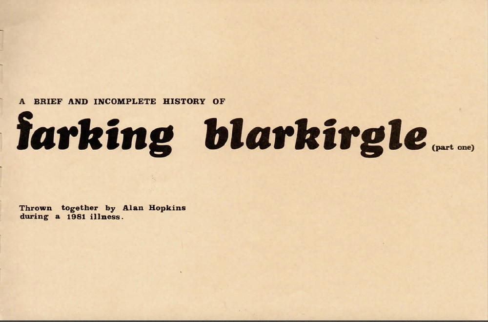 The cover of Alan Hopkins' Farking Blarkirgle book. Image courtesy Betty Pavey