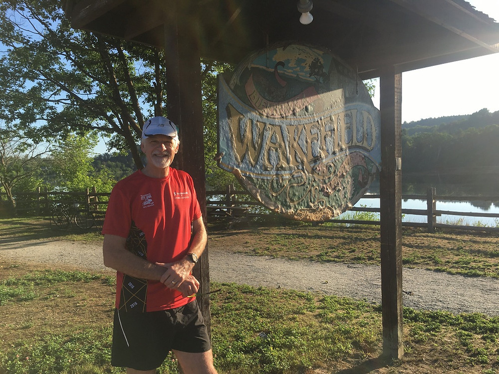 Wakefield resident Dennis Ferris, 64, completed his 1,022-km virtual run across Tennessee on July 19 in Wakefield. Photo courtesy Shelley Crabtree