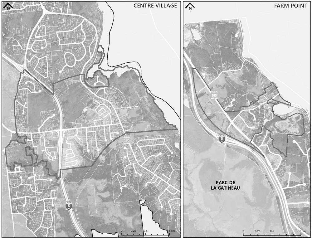 The proposed urban perimeter in Farm Point (right) includes Hwy 105 and Chemin Saint-Clément. The urban perimeter in the centre village (left) allowed the Chelsea council to ban big-box stores and restaurants with drive-throughs. Image courtesy the municipality of Chelsea