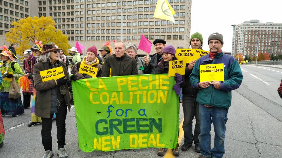 La Pêche Coalition for a Green New Deal members at a climate march in Ottawa in October 2019. Facebook photo