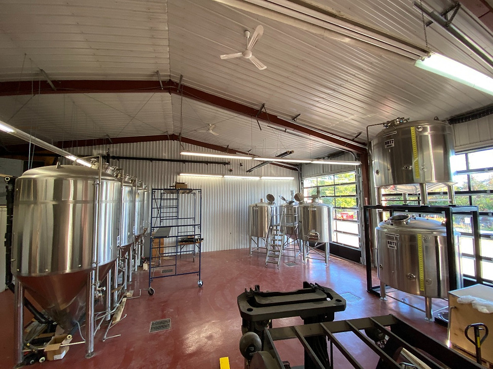 The inside of Nicolas Cazelais' brewhouse at 6 Ch. Douglas in Chelsea is almost ready to start brewing, but awaits final pipe connections. His plans for the property include a brewery, cidery, distillery, apiary and tasting room, which also serves food. Photo courtesy Nicolas Cazelais