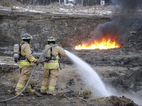 Fuel-soaked soil near Wakefield erupts in flames