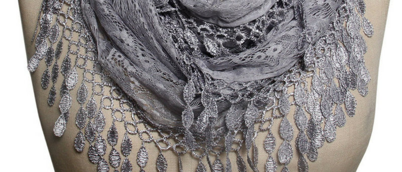 Butterfly Scarf - Multi-Styling Scarf - Silver Grey Lace