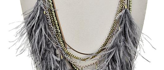 Multi Tone / Grey Fabric & Green Acrylic Necklace