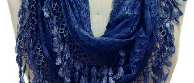 Butterfly Scarf - Multi-Styling Scarf-Navy Lace